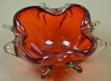 VTG MURANO ART GLASS BUBBLESS CANDY DISH BOWL ORANGE RED PULLED SCULPTURE HEAVY
