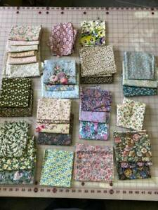 Over 30 Vintage Floral Fabrics, most approx Fat Quarters,