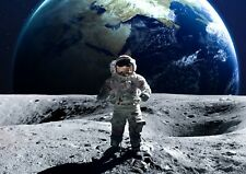 A3| Cool Moon Walking Astronaut Poster Size A3 Earth Space Poster Gift #14174