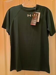Youth Under Armour Short Sleeved Tshirt Heat Gear  size Large  Hunter green