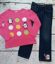 Crazy 8 Girls Pink Penguin Tee and Embroidered Penguin Jeans 7 8 Guc