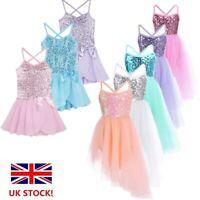 UK Kids Girls Glitter Ballet Dance Dress Gymnastics Lyrical Dancewear Costume