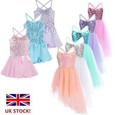 UK Kids Girls Glitter Ballet Dance Dress Gymnastics Lyrical Dancewear Costume
