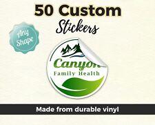 "50 2x2"" Custom Printed Full Color Outdoor Sticker Decal Die Cut Vinyl Car Bumper"