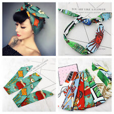 Rockabilly ladies knot pattern headband head wrap scarf hair band retro 50 s 4c32b270cba