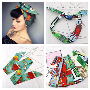 Rockabilly ladies wire knot pattern headband head wrap scarf hair band  50's. 03