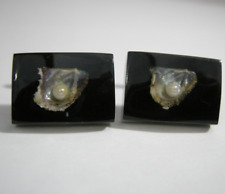 Vintage Mens Cufflinks 1960s Double Lucite Real Pearl Oyster Shell Retro Jewelry