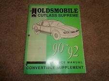1990 thru 1992 Oldsmobile Cutlass Supreme Service Manual Convertible Supplement