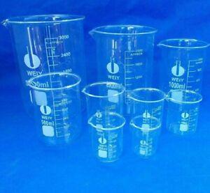50ml - 3000ml Low Form Beaker Chemistry Laboratory Borosilicate Glass Measuring