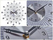 Modern 2016 Crystal Jeweled Beaded Sunburst Wall Clock Silver Wire Room Decor