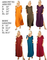 WOMENS V-NECK SHORT SLEEVE SOLID KNIT CASUAL STRETCHY CASUAL LONG MAXI DRESS