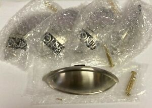 """5x ALNO Brass Cup Pull 3.5"""" Drawer Handle Hardware A1355-SN Satin Nickel 5pk"""