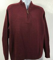 Pendleton Men's Burgundy Washable Shetland Wool 1/4 Zip Knit Sweater Size Large
