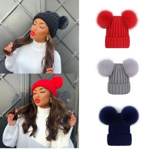 Double Pom Pom Beanie Hat Chunky Rib Knit Winter Warm Woolly Ski Hat Two Bobbles