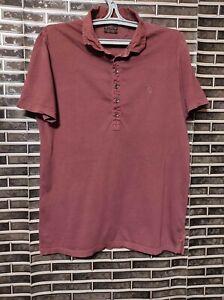 All Saints Men's Shirt Burgundy 1/4 Zip Size Large