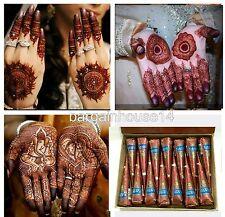 12 Marrone Puro Fresco Qualità Kaveri Naturale Henné Mehndi Tatuaggio cono + POST VELOCE