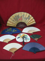 Large Collection of 8 Assorted Antique Vintage Chinese Decorative Fans #4