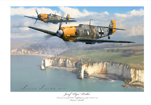 BATTLE OF BRITAIN FIGHTER ACE PRILLER BF109E JG51 LIMITED EDITION SIGNED PRINT