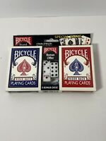 Bicycle 2 Decks Standard Poker Playing Cards Rider Back and 5 Dice Set - New