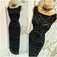HOBBS 💋 UK 10 Elegant Black Sheer Flourish Devore Maxi Wiggle Dress ~Free P&P~