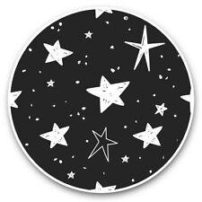 2 x Vinyl Stickers 20cm (bw) - Night Sky Sketch Stars Navy Blue  #36960