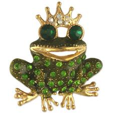 Crystal Rhinestone Frog Prince Brooch NEW MADE WITH SWAROVSKI ELEMENTS