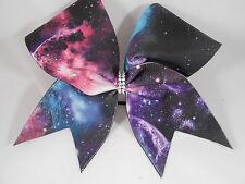 Cheer Bow Galaxy Black / Multi w Rhinestone Center by BlingItOnCheerBowz