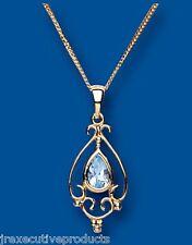 Topacio Azul colgante Collar oro amarillo Victoriano