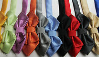 MENS DIAMOND BOW TIE Pretied Adjustable Wedding Formal Black White Grey Gold Red