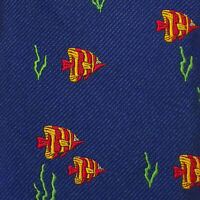 VINEYARD VINES Mens Navy Red Gold FISH Woven Silk SKINNY Tie NWT