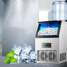 Commercial Ice Maker Stainless Steel Machine 55kg/24hr Restaurant Bar Icemaker