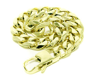 Stainless Steel Bracelet Mens Yellow Cuban 8 Inches 10mm Miami Curb Link Style