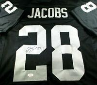 JOSH JACOBS / LAS VEGAS RAIDERS / AUTOGRAPHED RAIDERS BLACK CUSTOM JERSEY / COA