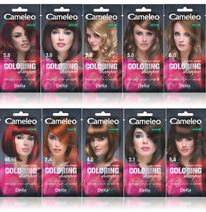 Delia Cameleo Temporary Hair Colour Shampoo Dye Sachet 4 to 6 Wash Out + GLOVES