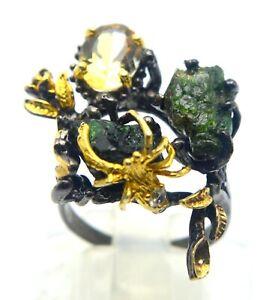 18 KT. YELLOW GOLD & 925 SILVER ROUGH GREEN TOURMALINE & CITRINE SPIDER RING
