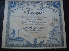 ACTION BELGIQUE SOCIETE ANONYME CHARBONNAGES DE BEERINGEN BERINGEN 1919