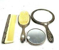 Vintage Godinger Silver Tone Dresser Vanity Set Mirror Comb Brush Palm Mirror
