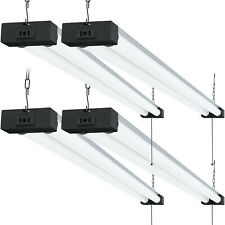 Sunco 4 Pack Industrial LED Shop Light Frosted 40W 6000K 4000lm Plug-in Garage