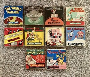 Lot Of 10 Vintage Castle Films Super 8MM Cartoons In Box
