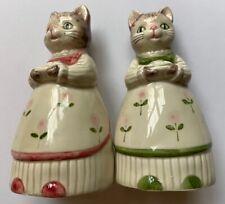 New Listing Anthropomorphic Cats Serving Fish Salt & Pepper Shakers Hand Painted- Otagiri