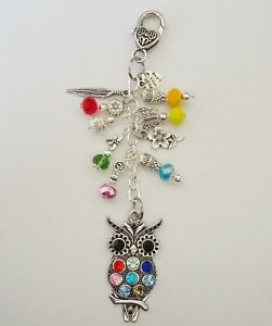 Owl Crystal Beads Bird Feather Butterfly Dragonfly Keyring Keeper-  Bag Charm