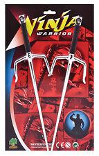 New Ninja Warrior Twin Sai Daggers Fancy Dress Weapons Toy Set Accessories
