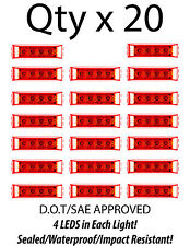 """Red 4"""" Inch 4 LED Rectangle Truck Semi Trailer Side Marker Clearance Light Qty20"""