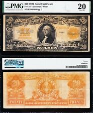 VERY NICE Bold VF Graded 1922 $20 *GOLD CERTIFICATE*! PMG 20! FREE SHIP! 50860