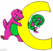 """5.5"""" Barney & baby bop abc letter c fabric applique iron on character"""