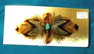 Feathered Barrette Pheasant Feathers & Real Turquoise FREE SHIPPING MFB02