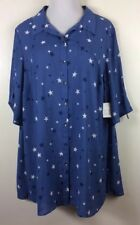 Catherines Blue Star Duster Top Blouse 12 Button Short Sleeve Womens Plus 1X 20W