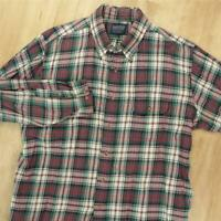 vtg Lands' End landsweave cotton wool blend shirt XL tag faded distressed plaid