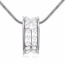 18K Gold GP SWAROVSKI Element Crystal Ring Pendant Necklace Silver