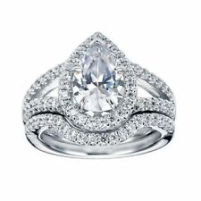 Certified 2.25ct Pear White Diamond Halo Engagement Wedding Ring 14K White Gold